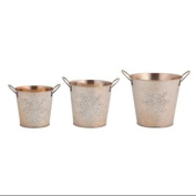 Set of 3 Decorative Gold Christmas Buckets with Silver Glitter Snowflake Designs