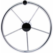 Seachoice 38cm Stainless Steel Destroyer Wheel with Turning Knob and Black Centre Cap
