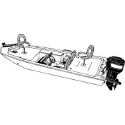 Carver Styled-to-Fit Cover for Pontoons with Partially Enclosed Deck and Bimini Top, Haze Grey