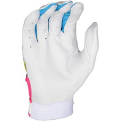 Franklin Sports MLB Youth Insanity II Batting Glove, White, Blue and Pink