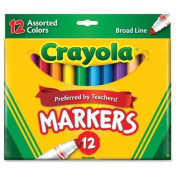 . Conical Tip Classic Markers - Broad Marker Point Type - Conical Marker Point Style - Red, Orange, Yellow, Green, Blue, Violet, Brown, Black, Grey, Flamingo Pink, Blue Ink - 12 / Set