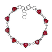 Love All Around Heart Link Red Coral Inlay .925 Silver Bracelet