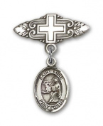 ReligiousObsession's Sterling Silver Baby Badge with St. Luke the Apostle Charm and Badge Pin with Cross