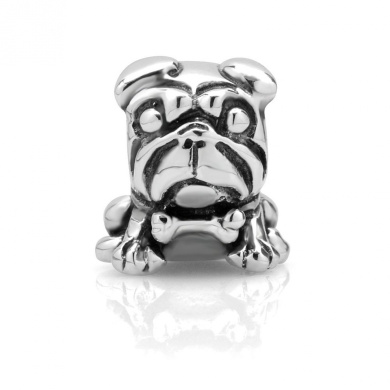 925 Sterling Silver Lovely Pug Dog Bead Charm Fits Pandora Bracelet