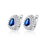 Sterling Silver Simulated Diamond Pear Shaped Sapphire Earrings