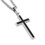 Honeystore Men's Titanium Steel Rolo Chain Cross Pendant Necklace Colour Black Silver Length 50cm