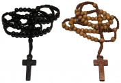2pc Tan & Black Coloured Wooden Beads Rosary Necklaces with Jesus Imprint Cross