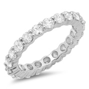2.50 Carat (ctw) 14k White Gold Round Diamond Ladies Eternity Anniversary Stackable Ring Wedding Band