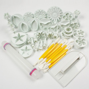 Beety Cake Tools 14 sets (46pcs) Flower Fondant Cake Sugarcraft Cookie Mould Icing Plunger Cutter Tool Decorating Kit