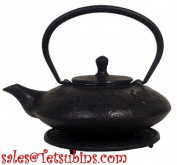 Black Flowers Cast Iron Teapot with Trivet, 590ml Capacity