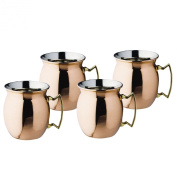Old Dutch Solid Copper Flared Moscow Mule Mug, 470ml, Set of 4