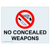 ComplianceSigns Clear Vinyl Concealed Carry Label, 13cm x 8.9cm . with Front Adhesive, English, 4-Pack