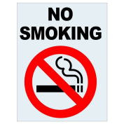 ComplianceSigns Clear Vinyl No Smoking Label, 13cm x 8.9cm . with Front Adhesive, English, 4-Pack