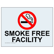 ComplianceSigns Clear Vinyl Smoke Free Window Cling, 13cm x 8.9cm . with Front Cling, 4-Pack