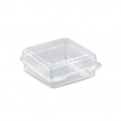 20cm x 20cm Square Clear Plastic Hinged Clam Shell Container - 200 per case