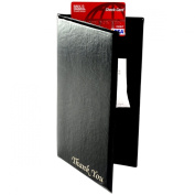 """Restaurant Cheque Presenters with 2 Interior Pockets for Receipts and 1 Pocket for Credit Card, """"Thank You"""" Inscribed in Gold Foil on Front, Synthetic Leather (Black) - Set of 10"""