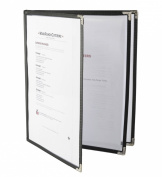 Set of 10, 3-Page Menu Covers for 8.5x11 Pages, Black Synthetic Leather Trim, Decorative Metal Corners