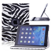 Creeracity Auto Sleep/Wake Function 360 Degree Rotating Smart Case Cover for iPad Air (5th Generation iPad) with a Stylus as a Gift--Grid Pattern,White