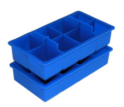 Large Blue Stackable Silicone Ice Cube Trays Set of 2 By Scotch Rocks