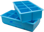 King Size 20cm X 5.1cm Cube Silicone Ice Tray By Acuisina - 2 Pack, Jumbo Drink Chiller Cubes, Large Ice Cubes Melt Slowly, for Portion Control, Broth Cubes, Wine, Pesto, Baby Food Maker, Ice Pop, Frozen Yoghurt, Soap, Chocolate or Cake Mould. Includes ..