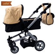 Babyboo Luxury Leather Look Doll Pram with Swivelling Wheels & Adjustable Handle and Free Carriage Bag - 9651B Beige