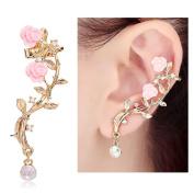 CIShop Pink Rose Diamond Ear cuff Earrings stud Punk Style Ear Wrap
