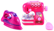 Magical Angel Pretend Play Children's Kid's Battery Operated Toy Sewing Machine & Clothing Iron Deluxe Combo Set
