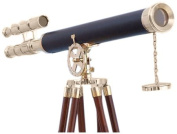 Handcrafted Nautical Decor Floor Standing Brass/Leather Griffith Astro Telescope, 160cm , Brass