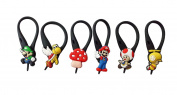 6 pcs Super Mario Brothers # 2 Soft Zipper Pull Charms for Backpack Bag Pendant Jacket
