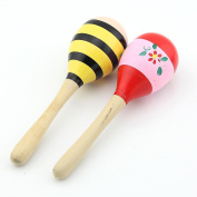 Pack of 2 Baby Wooden Sand Hammer Maracas Rattle Bell Musical Instruments Toys