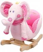 Rocking Animal - Pink Elephant Animal Rocker for Baby Childrens boys girls with sounds