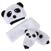 BuyHere Unisex-Baby Panda Cap with Scarf Set,Off-white