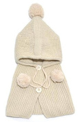 BuyHere Unisex-Baby Button Wool Shawls and Knitting Hat Set,Beige