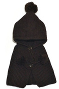 BuyHere Unisex-Baby Button Wool Shawls and Knitting Hat Set,Coffee