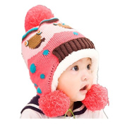 BuyHere Unisex Baby Pompon Beanies Knitting Wool Hat,Melon Red