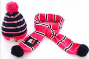 TheWin Fashion Lovely Baby Kids Girls Boys Warm Winter Knit Crochet Hat with Scarf, Pink