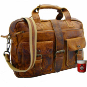 BARON of MALTZAHN Briefcase / Laptop Bag JADEN Brown Rugged Hide Leather / with Leather Care