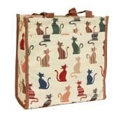 Signare Womens Fashion Tapestry Shopper Bag Shoulder Bag Cheeky Cat Design