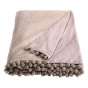 Ragged Rose 140 x 180 cm Cotton Velvet Belinda Velvet Throw, Taupe