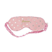 Lula Dreamer Embroidered Eye Mask Blush Pink with Silver Spots