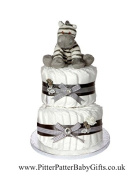 Signature Two Tier Grey Unisex Nappy Cake / Baby Hamper / Baby Shower Gift / New Arrival Gift