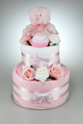 Baby Girl Two Tier Nappy Cake New Born Baby Shower Gift with Sock Cupcake