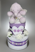 Unisex Baby Boy Girl Two Tier Nappy Cake with Baby Jack Elephant New Born Baby Shower Gift