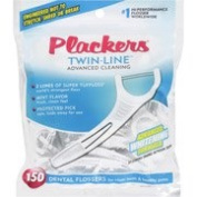 Plackers Twin-Line Advanced Cleaning Whitening Formula Dental Flossers, Mint, 150