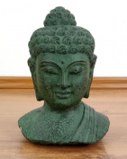 Buddha stone bust, green stone head from Bali, beautiful spiritual accessory