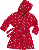 Playshoes Girls' Hooded Long Sleeve Bathrobe - Red - 11 years