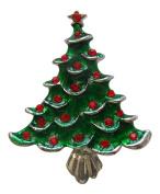 Pick A Gem Silver Green Red Enamel Crystal Christmas Tree Brooch