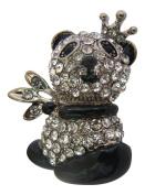 Pick A Gem Silver Clear Crystal and Enamel Panda Brooch