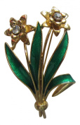 Pick A Gem Gold Plated with Enamel Double Daffodil Brooch St. David's Day