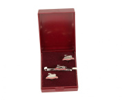 the queens own hussars cufflink and tieslide gift set.